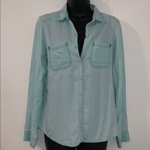 Rubbish Small Light Blue Button Up Long Sleeve Top